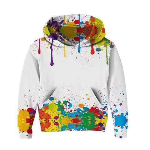 Dripping Paint Kids Hoodies Kids Hoodies LeStyleParfait.Com White 13T