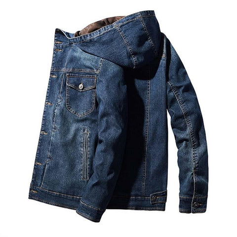 Edison Cargo Denim Jacket For Men- Autumn, Cargo, Clothing, Denim, Fall, Fleece, Hooded, Jackets, Men, Men's, Men's Jackets, Plus Size, Winter-LeStyleParfait.Com