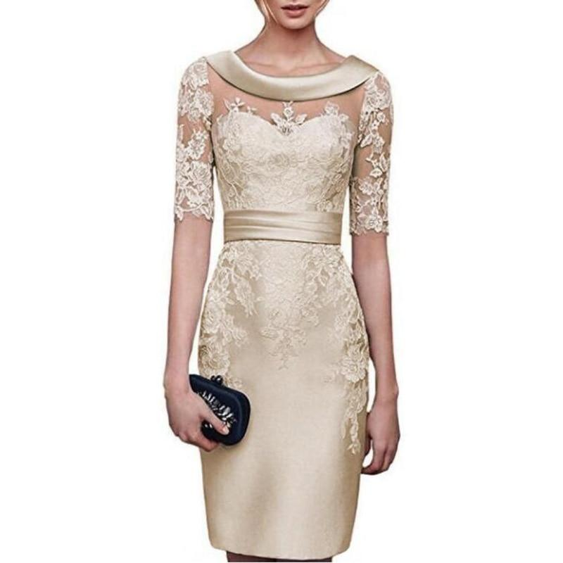 Elegant Nude Lace Bride Dress-Dress-Online-LeStyleParfait.Com