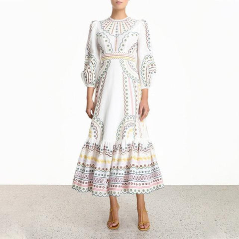 Embroidered Lantern Sleeves Maxi Dress Dress LeStyleParfait.Com white S