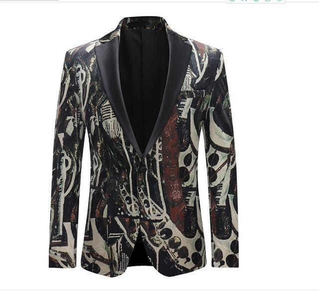 Fashion Men's Blazer Unique Print Blazer-Blazer-LeStyleParfait.Com