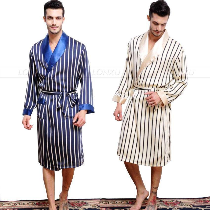 Feeling Soft Silk Satin Striped Gown-Men's Sleepwear-LeStyleParfait.Com
