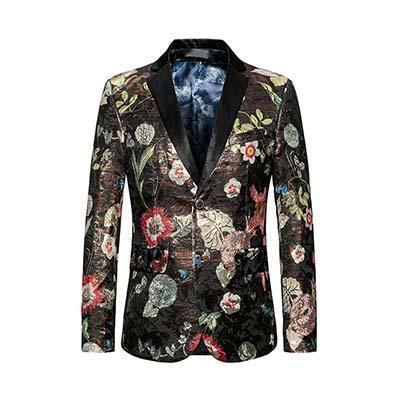 Floral Sequin Blazers Mens Slim Fit Fashion Brand Blazer-Blazer-LeStyleParfait.Com