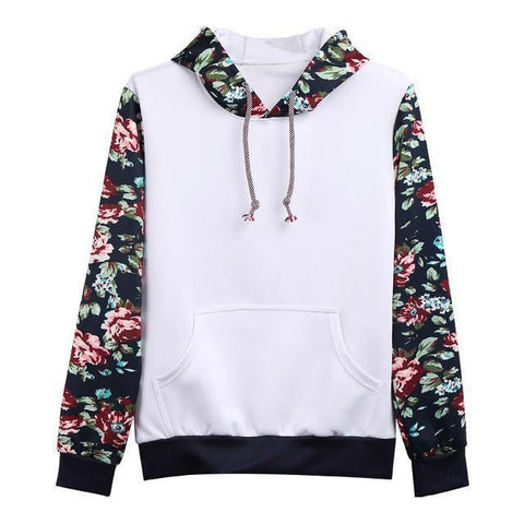 Floral Sleeves Men's Hoodie, White Hoodie LeStyleParfait.Com White M