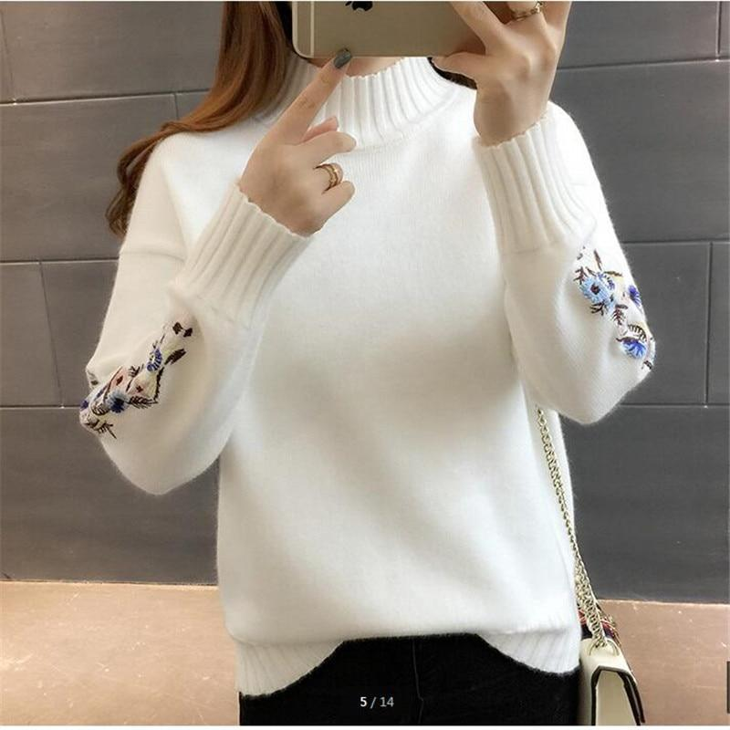 Floral Sleeves Turtleneck Women's Sweaters Online-LeStyleParfait.Com