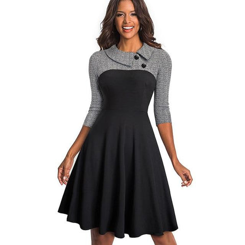 Florence Pinup Flare Swing Dress-Dress-Online-USA-UK-AU-LeStyleParfait.Com-Black and Gray-L