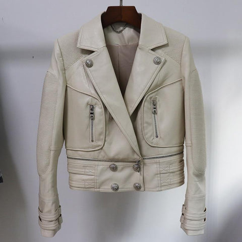 Frans Motorcyle Jacket For Women - Motorcycle Jacket Leather-Jacket-LeStyleParfait.Com
