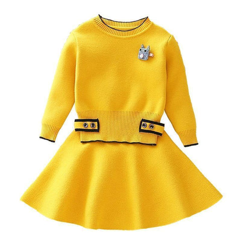 Girls Clothing Sets Kids Knitted Suits Long Sleeve-Kids Clothing Set-LeStyleParfait.Com