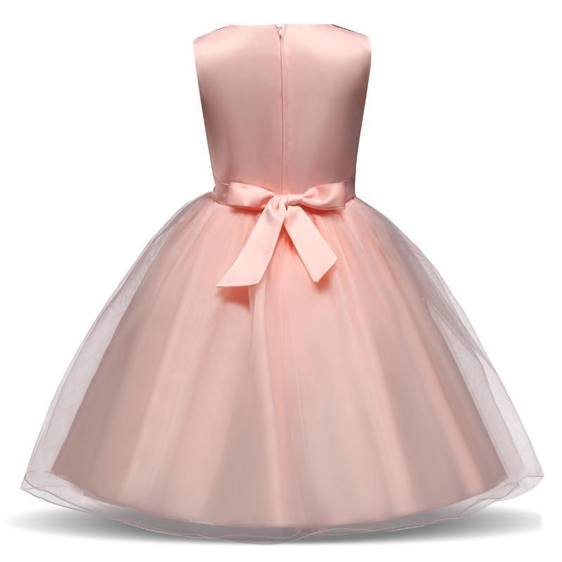 Girls Dress, Pink Princess Lace Girl Dress 4-10 Yrs-Girls Dresses-LeStyleParfait.Com