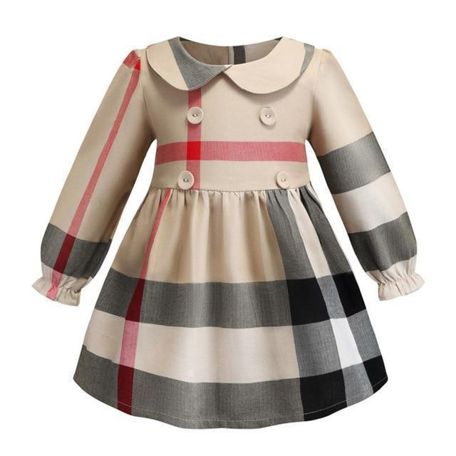 Girls Dress Plaid With Buttons Dress-Girls Dresses-LeStyleParfait.Com
