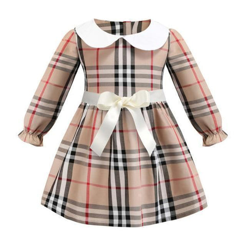 Girls Dress Plaid With Buttons White Collar Dress-Girls Dresses-LeStyleParfait.Com