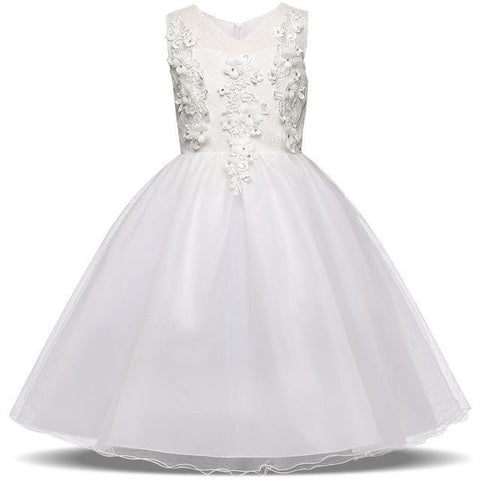 Girls Dress, White Baptism Dress, Wedding Dress 1- 8 Yrs-Girls Dresses-LeStyleParfait.Com