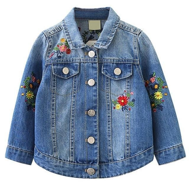 Girls Jacket Floral Jean Jacket For Kids-Kids Jackets-LeStyleParfait.Com