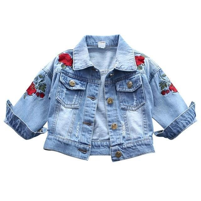 Girls Jacket Floral Jean Jacket-Kids Jackets-LeStyleParfait.Com