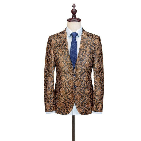 Glorious Affair Men Floral Slim Fit Jacket-Blazer-Online-LeStyleParfait.Com