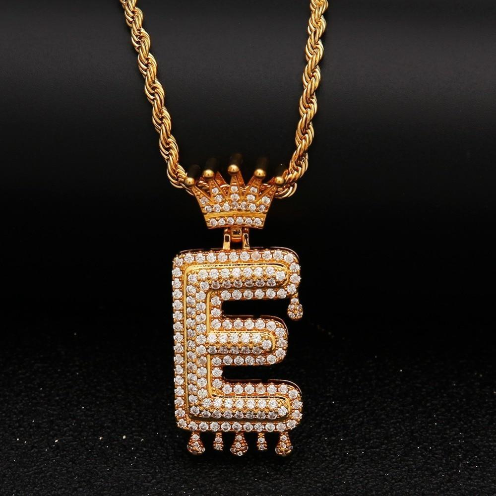 "Gold Crown Chain Necklace & Letter ""E"" Pendant Men Women-Necklace-LeStyleParfait.Com"
