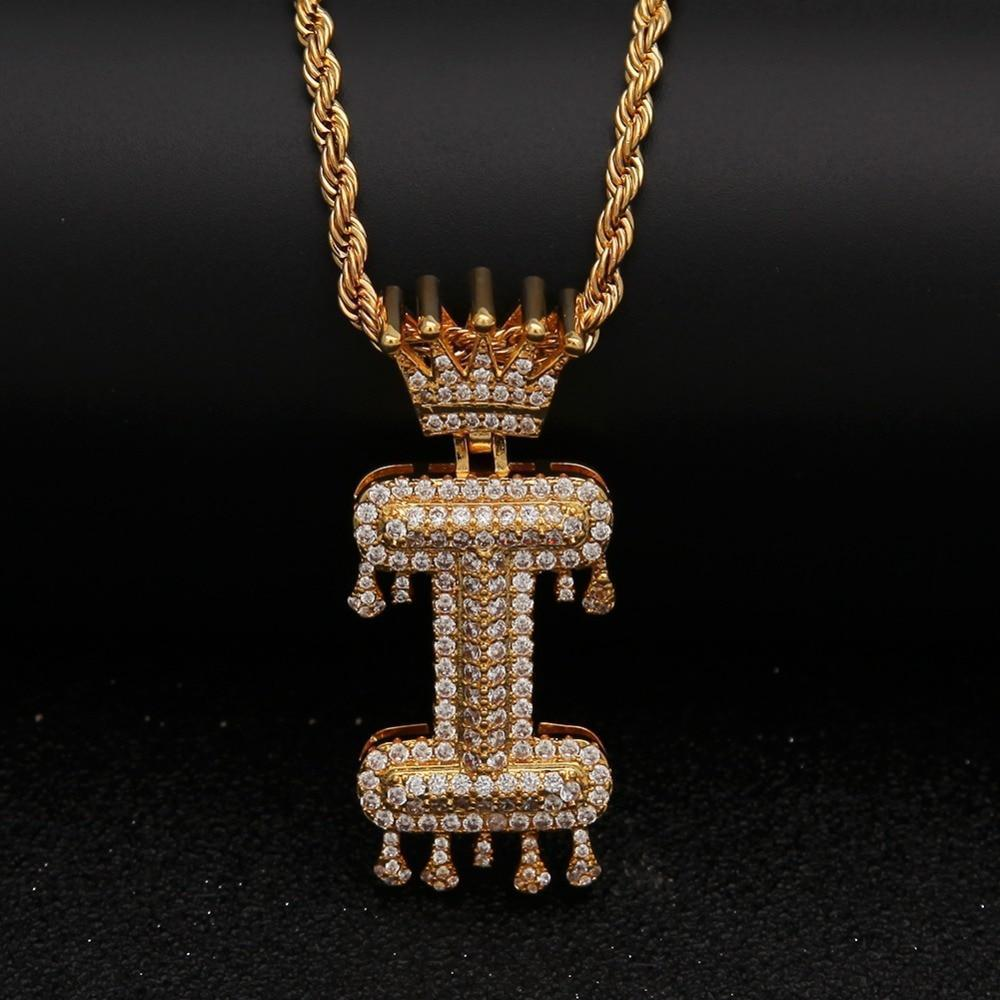 "Gold Crown Chain Necklace & Letter ""I"" Pendant Men Women-Necklace-LeStyleParfait.Com"