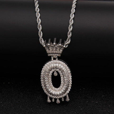 "Gold Crown Chain Necklace & Letter ""O"" Pendant Men Women-Necklace-LeStyleParfait.Com"