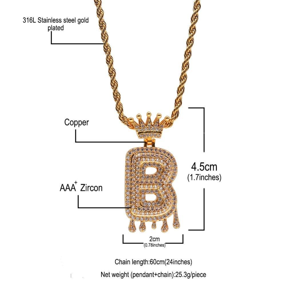 "Gold Crown Chain Necklace & Letter ""R"" Pendant Men Women-Necklace-LeStyleParfait.Com"