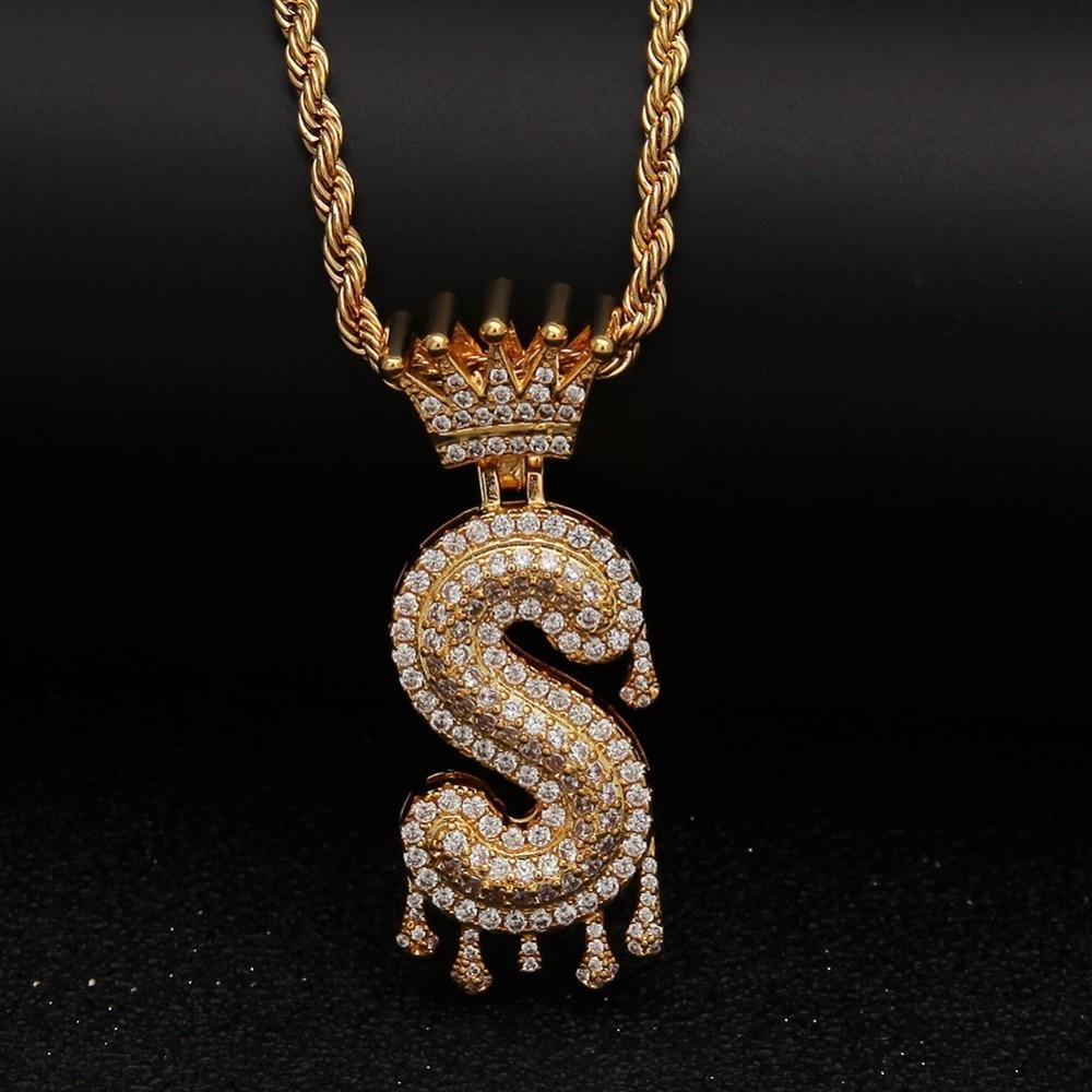 "Gold Crown Chain Necklace & Letter ""S"" Pendant Men Women-Necklace-LeStyleParfait.Com"