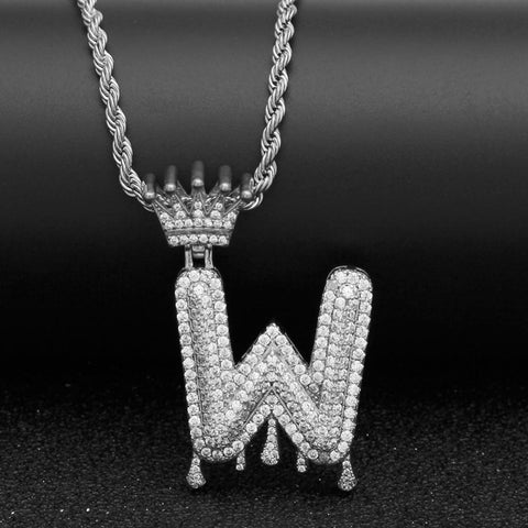 "Gold Crown Chain Necklace & Letter ""W"" Pendant Men Women Necklace LeStyleParfait.Com Online Shop Silver 24inch Rope chain Letter W"