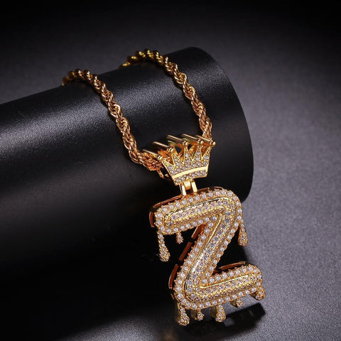 "Gold Crown Chain Necklace & Letter ""Z"" Pendant Men Women Necklace LeStyleParfait.Com Online Shop Gold 24inch Rope chain Letter Z"