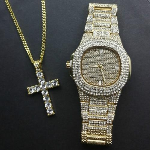 Gold Diamond Luxury Jewelry Set, Watch & Necklace, Men Jewelry-Jewelry Set-LeStyleParfait.Com