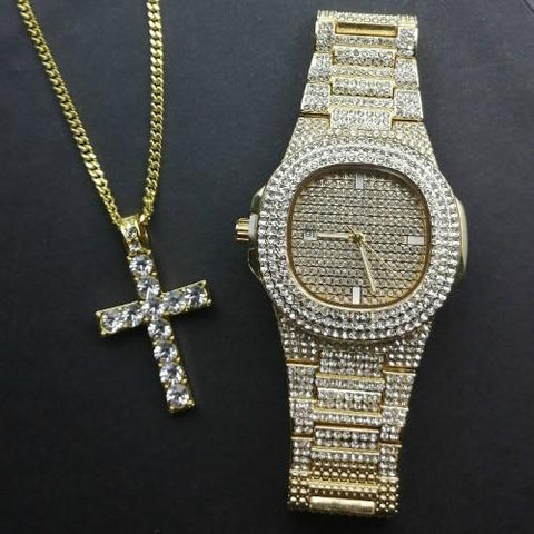 Gold Diamond Luxury Jewelry Set, Watch & Necklace, Men Jewelry Jewelry Set LeStyleParfait.Com Online Shop Gold