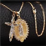 Gold Plated Cross Crucifix + Virgin Mary Necklace-Necklace-LeStyleParfait.Com