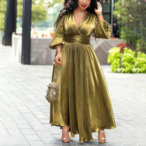Golden Glitter Lantern Sleeve Maxi Dress-Dress-LeStyleParfait.Com