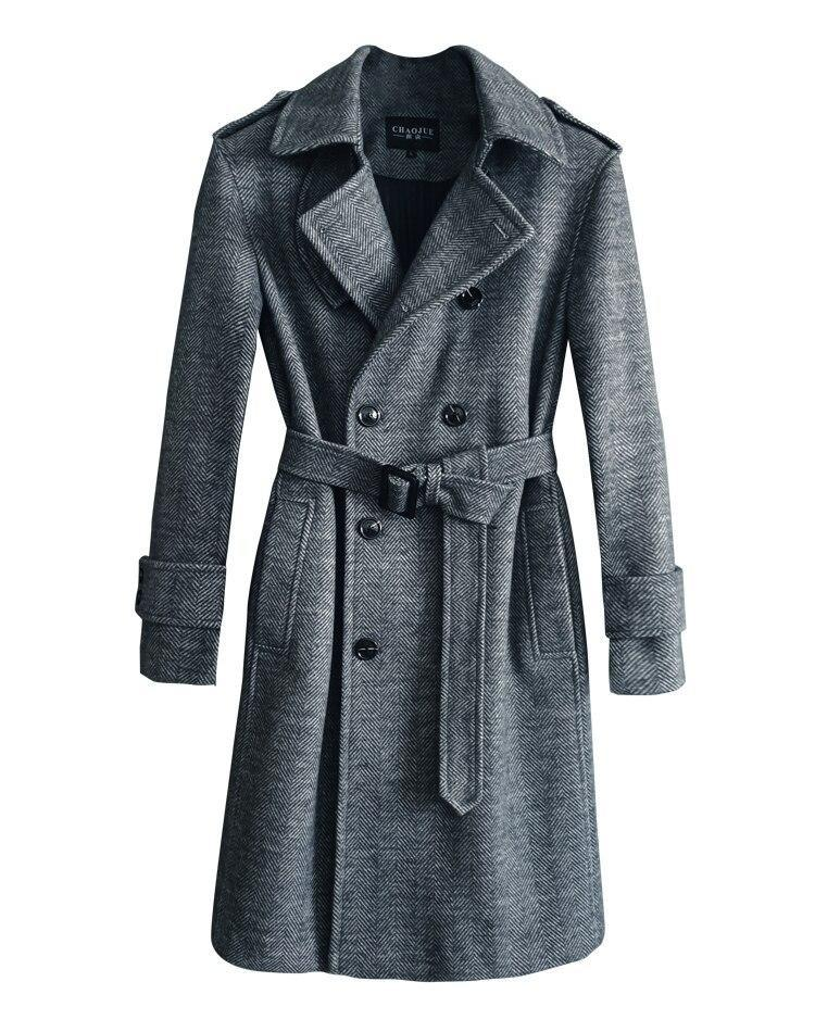 Herringbone Winter Coat For Men-Coat-LeStyleParfait.Com