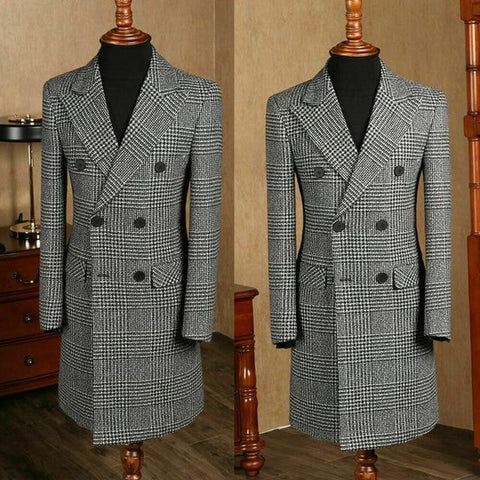 Houndstooth Winter Coat For Men - Designer Men's Coats-Coat-6XL-Black White-LeStyleParfait.Com