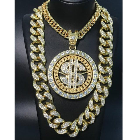 Jewelry Set For Men, Hip Hop Gold Silver Necklace, Dollar Sign Pendant-Jewelry Set-LeStyleParfait.Com