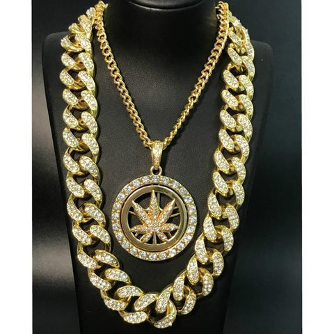 Jewelry Set For Men, Hip Hop Gold Silver Necklace, Plant Pendant-Jewelry Set-LeStyleParfait.Com