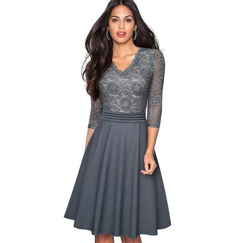 Kate Vintage Flare Dress Dress LeStyleParfait.Com Gray L