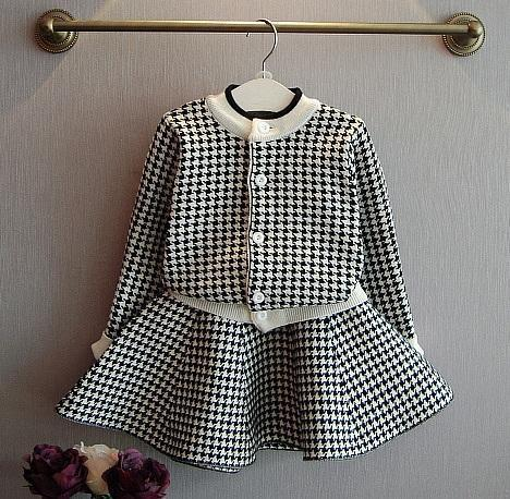 Kids Clothing Set Girls Checked Skirt Suit-Kids Clothing Set-LeStyleParfait.Com