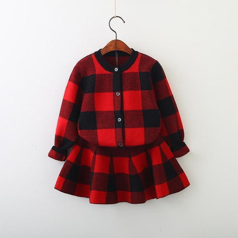 Kids Clothing Set Girls Plaid Skirt Suit-Kids Clothing Set-LeStyleParfait.Com