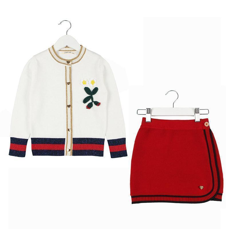 Kids Clothing Set Knitted Sweater And Skirt-Kids Clothing Set-LeStyleParfait.Com