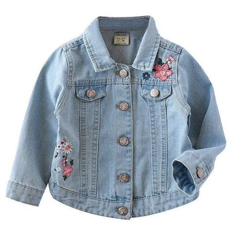 Kids Denim Jacket Floral Fashion Jacket-Kids Jackets-LeStyleParfait.Com