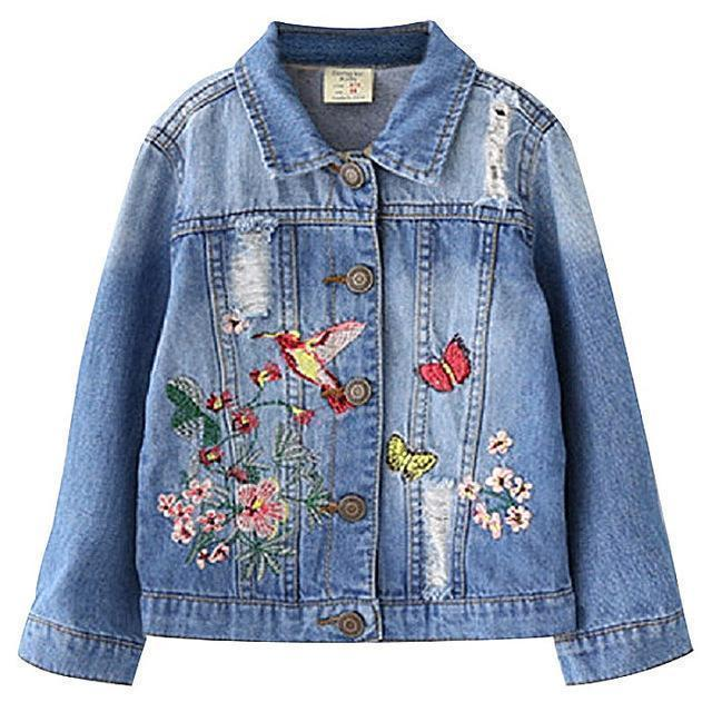 Kids Jacket Girls Jean Jacket Floral Ragged Jacket-Kids Jackets-LeStyleParfait.Com