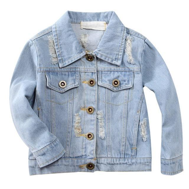 Kids Jean Jacket Ragged Fashion Jacket-Kids Jackets-LeStyleParfait.Com