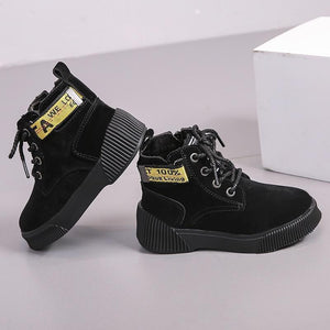 Kids Shoes Lace Up Ankle Boots Rubber Sole-Shoes-LeStyleParfait.Com