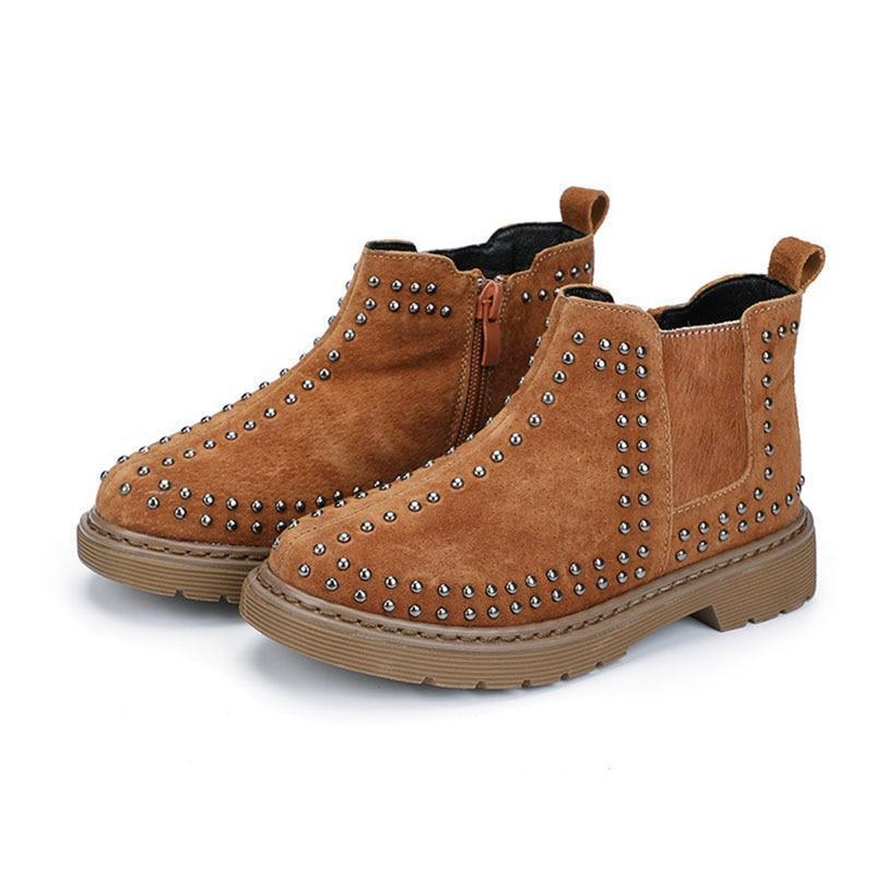 Kids Shoes Suede Boots With Rivets-Shoes-LeStyleParfait.Com