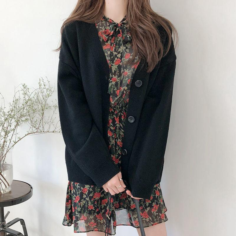 Korean Oversized Cardigan Sweater For Women-Sweater-LeStyleParfait.Com