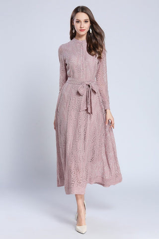 Lace Dress Women Maxi Dress O-Neck A-Line With Belt Dress LeStyleParfait.Com pink XXL