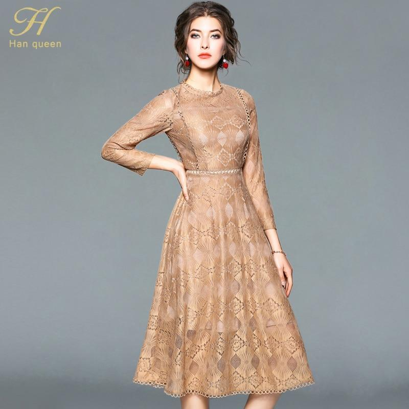 Lace Dress Women O-Neck Office Dress-Dress-LeStyleParfait.Com