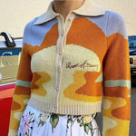 Landscape Crop Cardigan Sweater For Women-Sweater-LeStyleParfait.Com