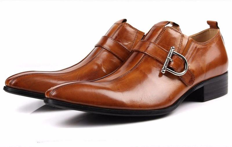 Large Size Men's Shoes Pointed Toe Men Dress Shoes Genuine Leather Shoes-Shoes-LeStyleParfait.Com