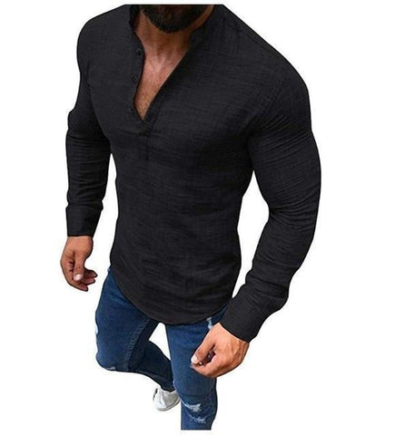 Linen Shirt - Casual Shirt For Men, Long Sleeve-Shirt-LeStyleParfait.Com