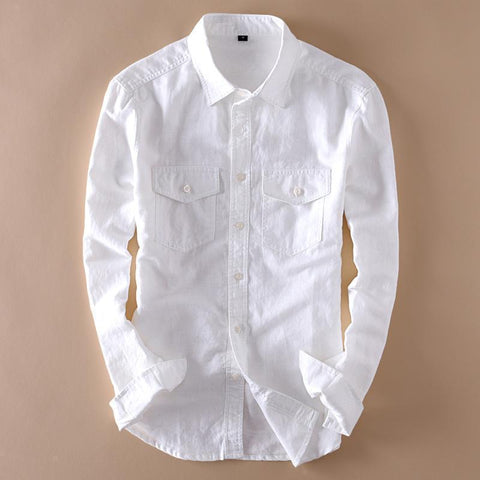 Linen Shirts Men's Casual Shirts Long Sleeve Shirts-Shirt-LeStyleParfait.Com